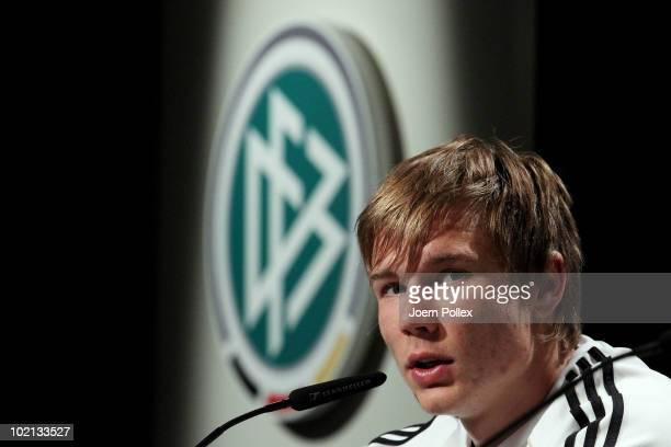 Holger Badstuber of Germany speaks to the media during a press conference in the media center at Velmore Grande Hotel on June 16 2010 in Pretoria...