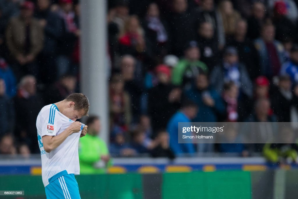 Holger Badstuber of Schalke reacts during the Bundesliga match between SC Freiburg and FC Schalke 04 at Schwarzwald-Stadion on May 7, 2017 in Freiburg im Breisgau, Germany.