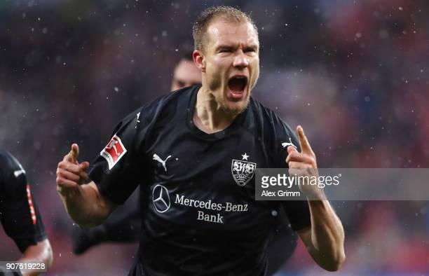 Holger Badstuber of Stuttgart celebrates his team's first goal during the Bundesliga match between 1 FSV Mainz 05 and VfB Stuttgart at Opel Arena on...