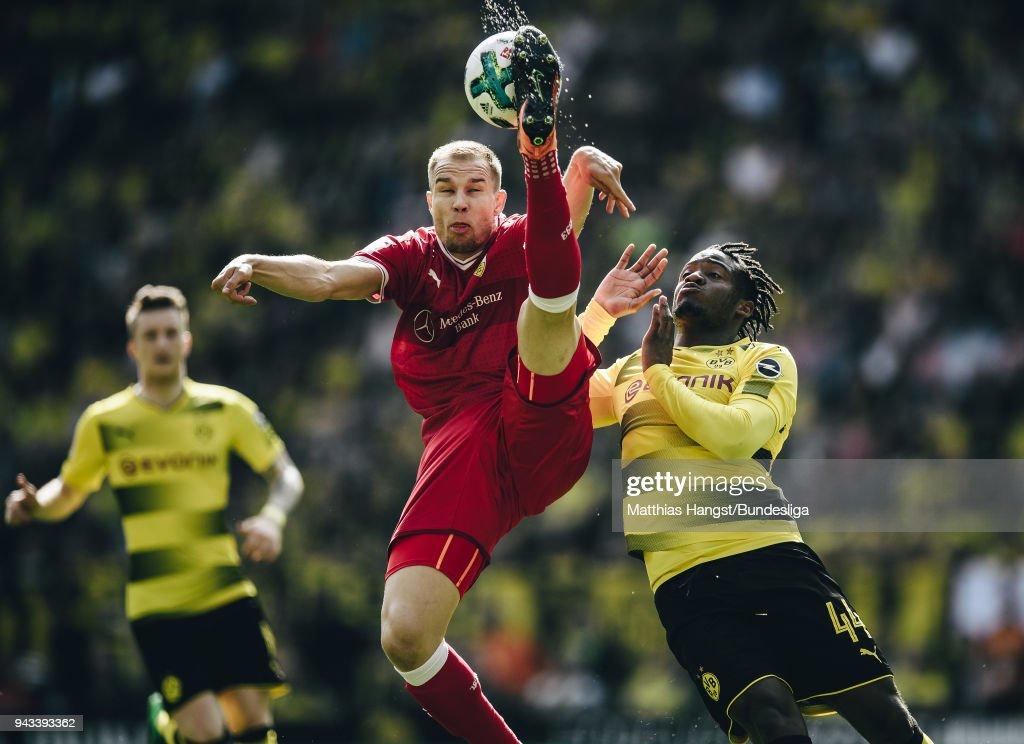 Holger Badstuber of Stuttgart in action against Michy Batshuayi of Dortmund during the Bundesliga match between Borussia Dortmund and VfB Stuttgart at Signal Iduna Park on April 8, 2018 in Dortmund, Germany.