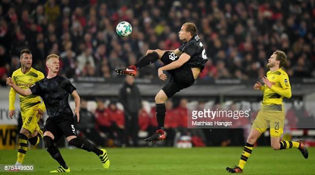 Holger Badstuber of Stuttgart kicks the ball during the Bundesliga match between VfB Stuttgart and Borussia Dortmund at MercedesBenz Arena on...