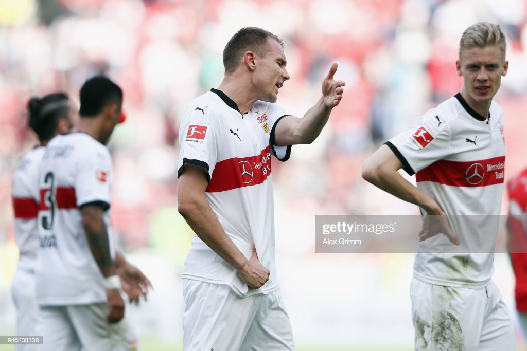 Holger Badstuber of Stuttgart reacts after the Bundesliga match between VfB Stuttgart and Hannover 96 at Mercedes-Benz Arena on April 14, 2018 in Stuttgart, Germany.