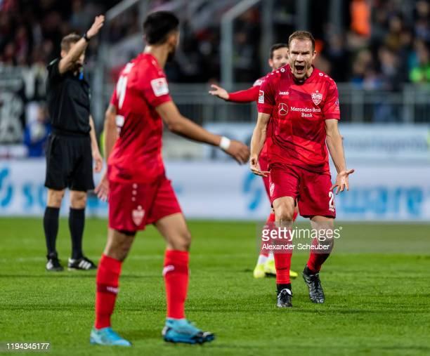 Holger Badstuber of Stuttgart shouts at Nicolas Gonzalez of Stuttgart during the Second Bundesliga match between SV Darmstadt 98 and VfB Stuttgart at...