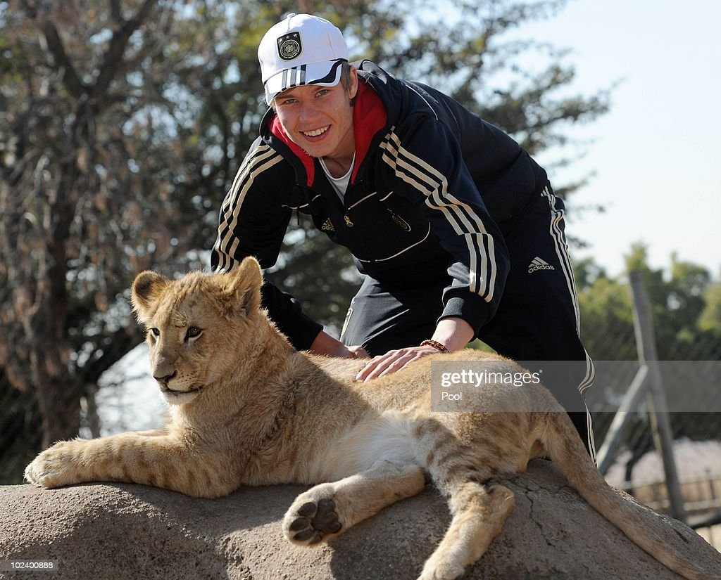Holger Badstuber of the German National Team strokes a lion cup during a visit at the Lion Park on June 25, 2010 in Lanseria, South Africa.