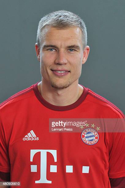 Holger Badstuber poses during the team presentation of FC Bayern Muenchen at Bayern's training ground Saebener Strasse on July 16 2015 in Munich...