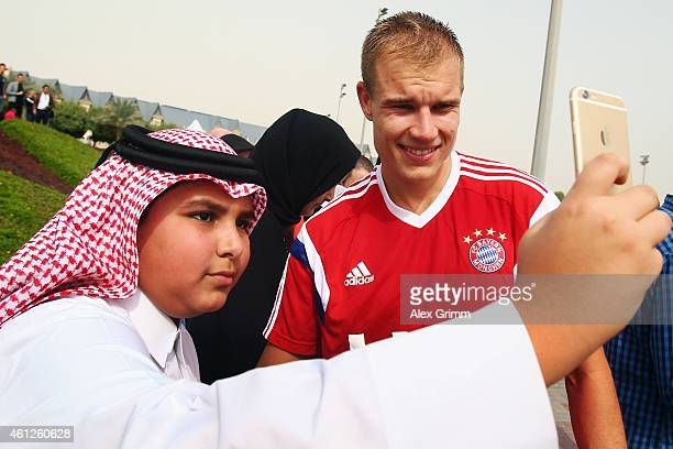 Holger Badstuber poses for a photo during day 2 of the Bayern Muenchen training camp at ASPIRE Academy for Sports Excellence on January 10 2015 in...