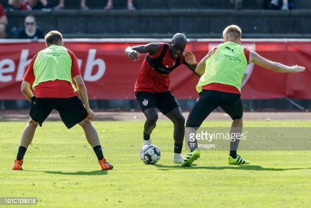 Holger Badstuber Timo Baumgartl and Orel Mangala of Stuttgart battle for the ball during the VfB Stuttgart training camp on July 28 2018 in Grassau...