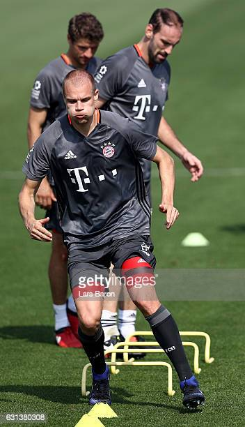 Holger Badstuber warms up during a training session at day 8 of the Bayern Muenchen training camp at Aspire Academy on January 10 2017 in Doha Qatar