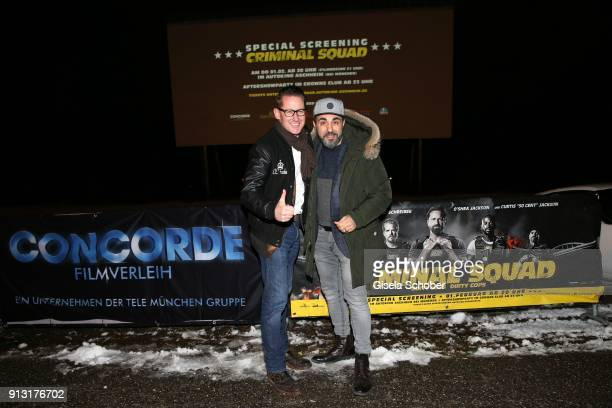 Holger Fuchs Managing Director Concorde Film and Adnan Maral during the special screening of 'Criminal Squad' on February 1 2018 in Autokino Aschheim...