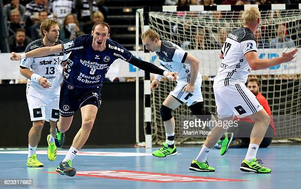 Holger Glandorf of FlensburgHandewitt celebrates after scoring during the DKB HBL Bundesliga match between THW KIEl and SG FlensburgHandewitt at...