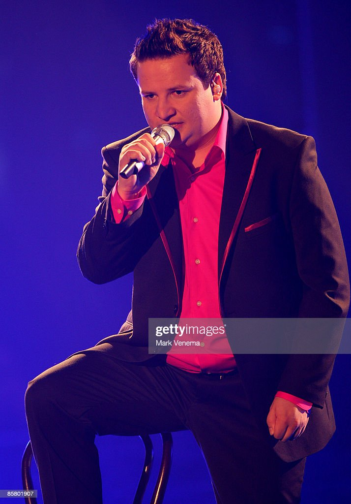Holger Goepfert performs a song during the rehearsal for the singer qualifying contest DSDS 'Deutschland sucht den Superstar' 4th motto show on April 4, 2009 in Cologne, Germany.