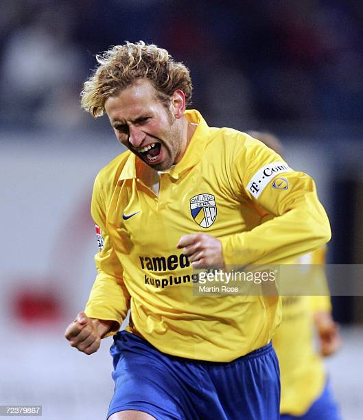 Holger Hasse of Jena celebrates after he scores the 1st goal during the Second Bundesliga match between Hansa Rostock and Carl Zeiss Jena at the...