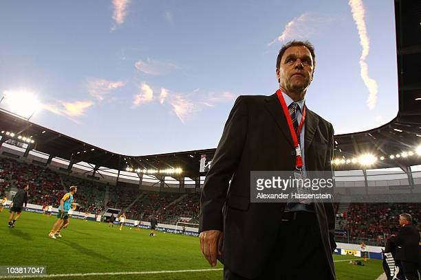 Holger Osieck head coach of Australia looks on prior to the International friendly match between Switzerland and Australia at the AFG Arena on...