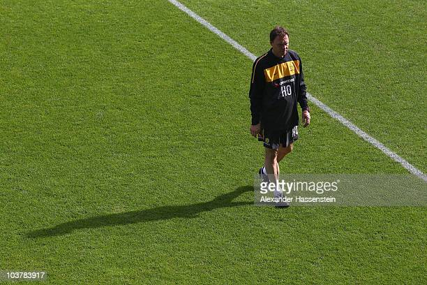 Holger Osieck head coach of team Australia attends an Australian Socceroos training session at the AFG Arena on September 2 2010 in St Gallen...