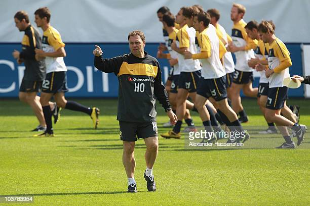 Holger Osieck head coach of team Australia gives instructions during an Australian Socceroos training session at the AFG Arena on September 2 2010 in...