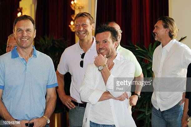 Holger Osiek Guido Buchwald Lothar Matthaeus and Paul Steiner attend the German World Cup Team of 1990 Meeting to celebrate their 20th anniversary at...