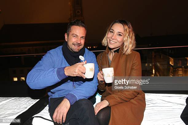 Holger Petermann and Sandra Ahrabian during the Polar Bar opening at Hotel Bayerischer Hof on November 24 2016 in Munich Germany
