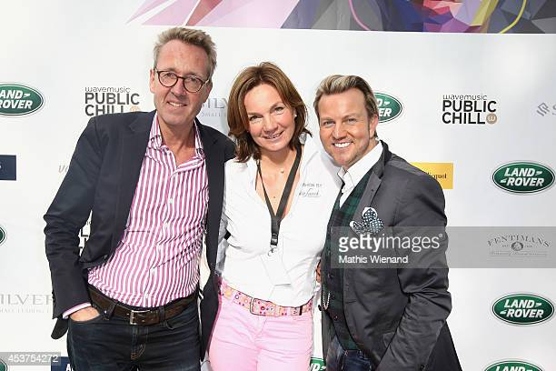 Holger Roever Tina Kirfel and Sandro Rath attend the Land Rover Public Chill 2014 at km689 on August 17 2014 in Cologne Germany
