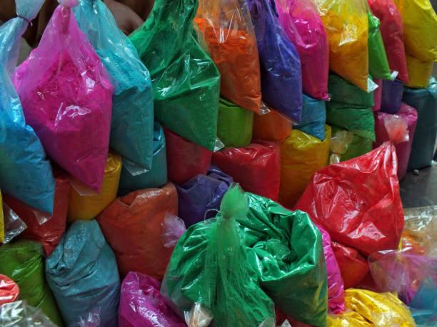 Holi colors on sale at a street of Karachi