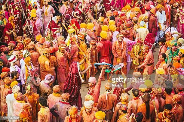 holi festival celebration, barsana, rajasthan, india - indian music stock photos and pictures
