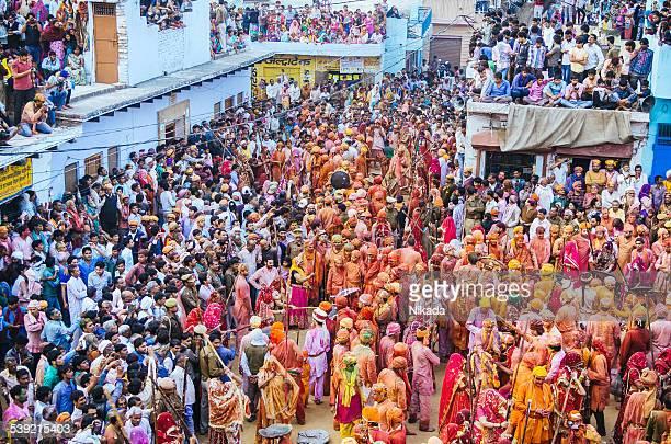 Holi Festival celebration, Barsana, Rajasthan, India