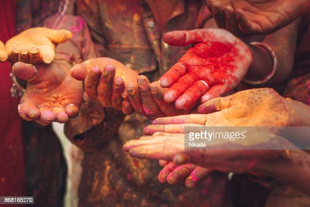Holi festival hands in India