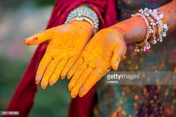 Holi festival hands