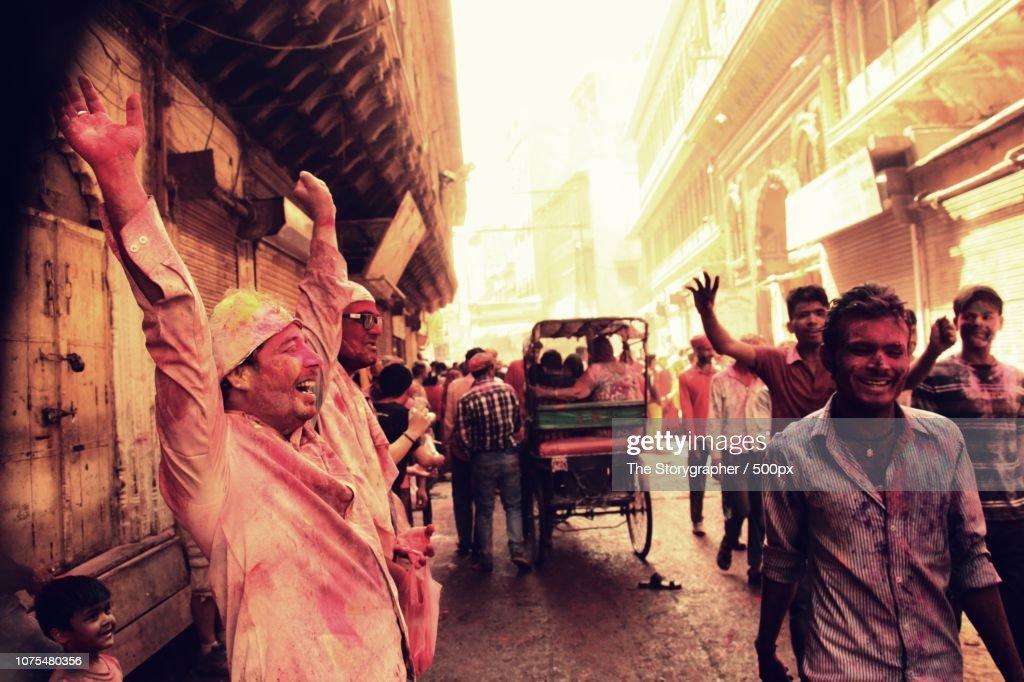Holi, Festival of colors. Mathura, India : Stock Photo