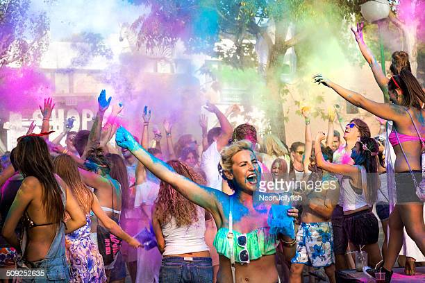 holi garden festival - ibiza island stock pictures, royalty-free photos & images