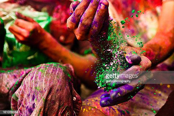 holi hands - kochi india stock pictures, royalty-free photos & images