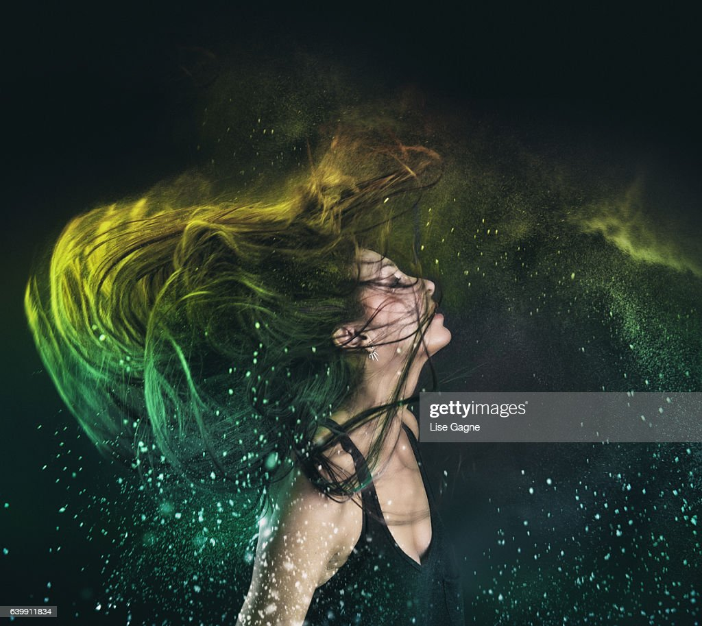 Holi Powder in hair : Stock Photo