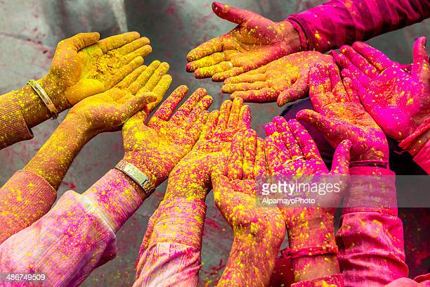 Holi powder on the hands, festival in India