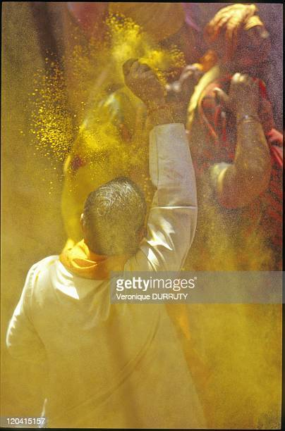 Holi Puja in the temple in Vrindavan Uttar Pradesh India The Holy festival is celebrated throughout India but instead of a day it lasts more than a...