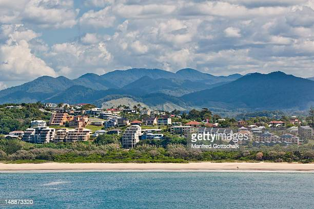 holiday apartments from sea. - coffs harbour stock pictures, royalty-free photos & images