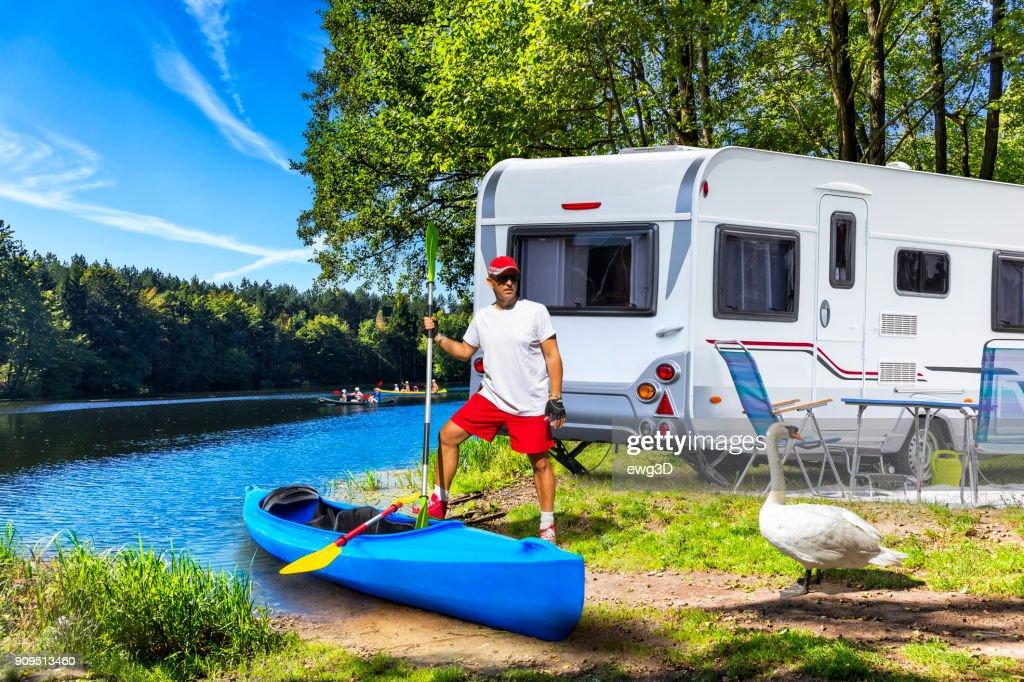 Holiday at Krutynia river in Masuria land, Poland : Stock Photo