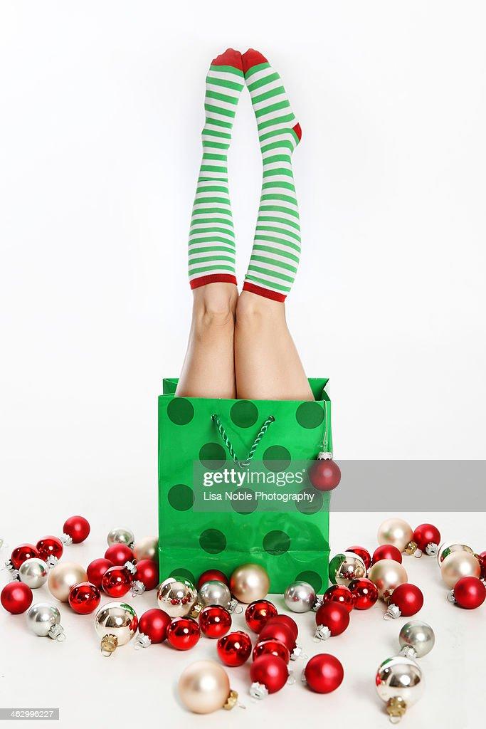 Holiday Bag and Christmas Ornaments : Stock Photo