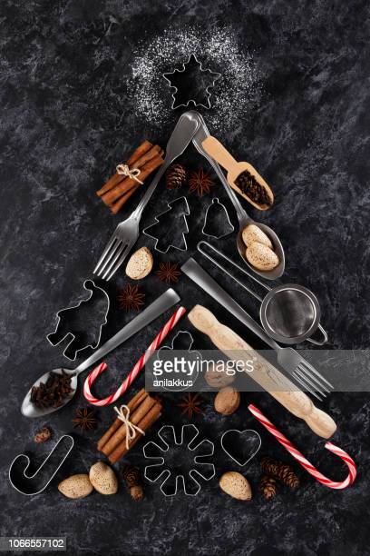 holiday baking background - kitchen utensil stock pictures, royalty-free photos & images
