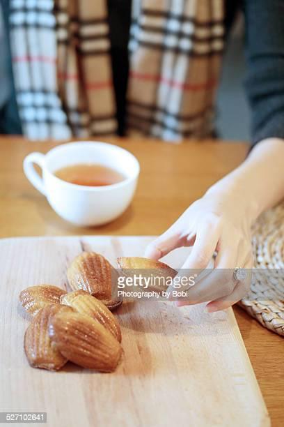 holiday baking - lady madeleine stock-fotos und bilder