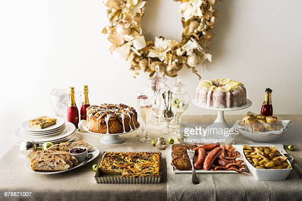 holiday brunch buffet - buffet stock pictures, royalty-free photos & images