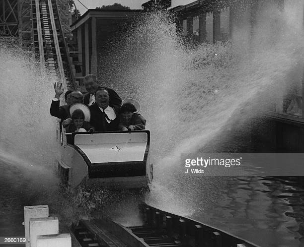 Holiday camp promoter Sir Billy Butlin on the water shoot at Battersea Festival Gardens London