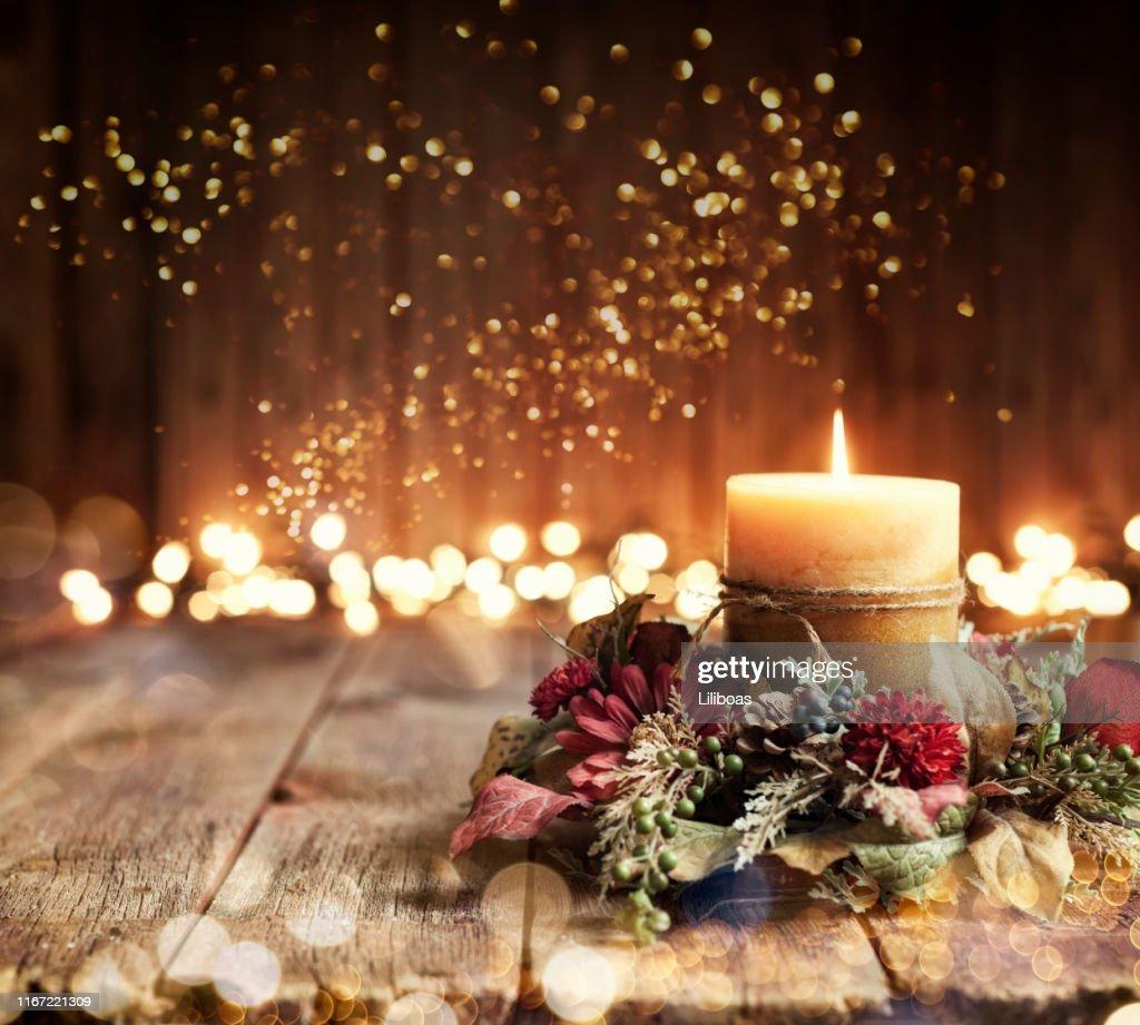 Holiday Candle Background : Stock Photo
