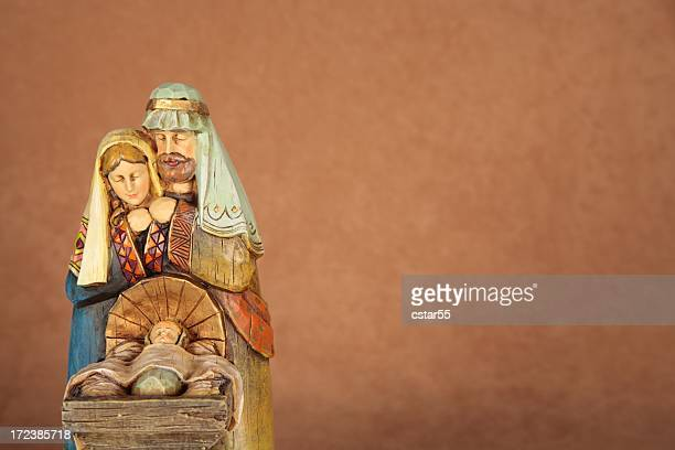 holiday: christmas nativity trio with copy space horizontal - manger stock photos and pictures