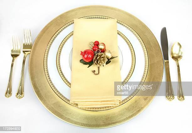 祝日:クリスマスのセッティング、ゴールドとホワイトの 2