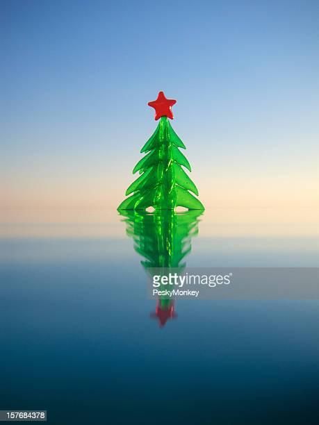 Arbre de Noël flottant sur la piscine à débordement