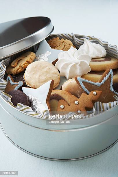 Holiday cookies in tin