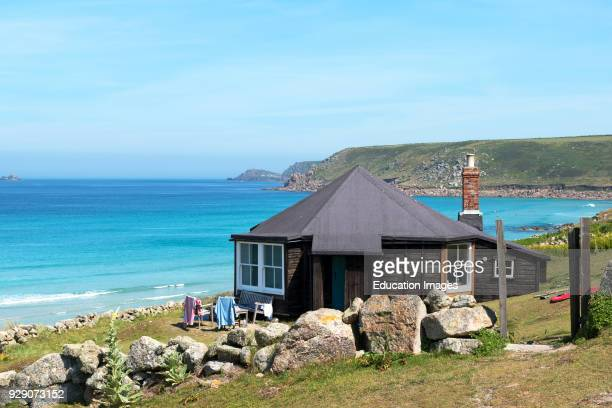 A Holiday Cottage Overlooking The Beach At Sennen Cove In Cornwall England Britain Uk