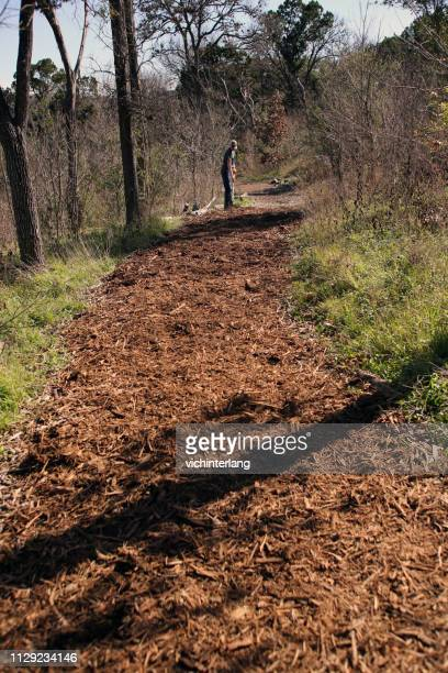 mlk holiday day of service, pease park, austin, texas - mulch stock pictures, royalty-free photos & images