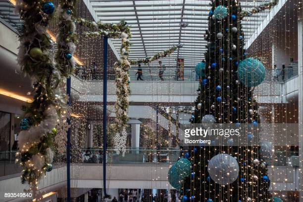 Holiday decorations are displayed at the Plaza Reforma 222 mall in Mexico City Mexico on Monday Nov 20 2017 The National Institute of Statistics and...