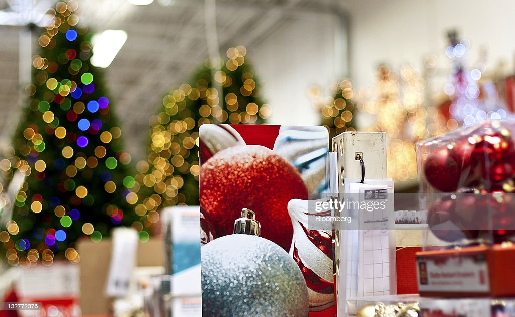 Holiday decorations are displayed for sale at a Home Depot ...