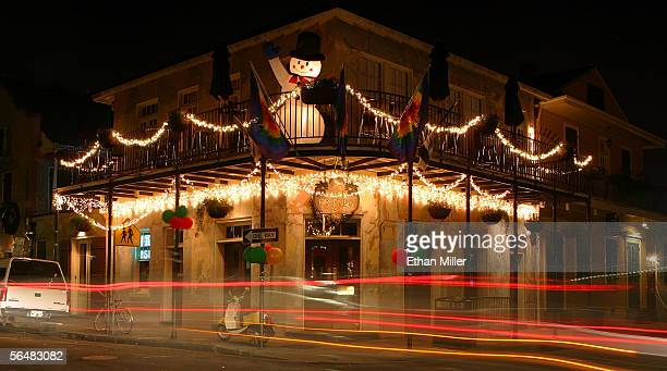 Holiday decorations are seen at the Good Friends Bar in the French Quarter December 22, 2005 in New Orleans, Louisiana. Devastated by Hurricane...